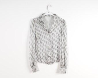 Shiny Silver Blouse See Through Women Shirt Vneck Blouse Long Sleeve Disco Shirt 80s Vintage Top
