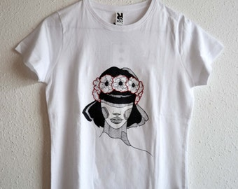 Hand printed T-shirt. Ms Poppy.