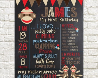 Sock Monkey First Birthday Chalkboard