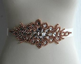 Rose Gold Crystal Bridal Sash Wedding Dress Sash Belt Rose Gold Sash Rhinestone Bridal Bridesmaid Sash Belt, Wedding dress sash