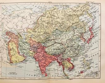 Antique Map of Continental Asia. Encyclopedia Britannica, 1870s
