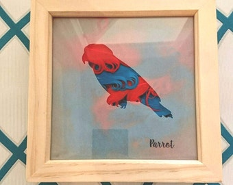 Parrot Box Frame Picture