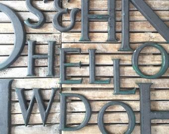 Vintage Wooden Shop Letters (distressed black/green)