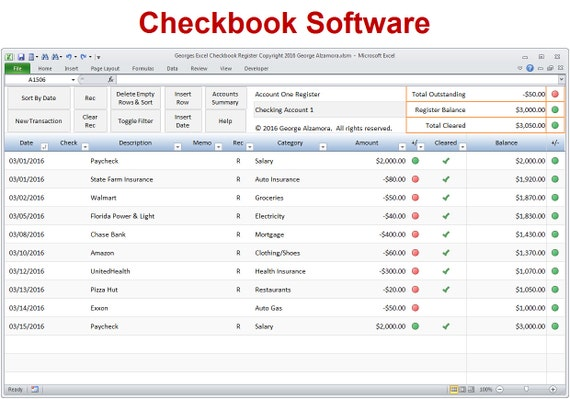 Excel Checkbook Software Checkbook Register Spreadsheet