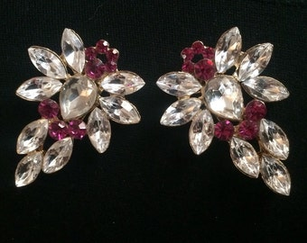 Pink and Clear Crystal Dress Clips