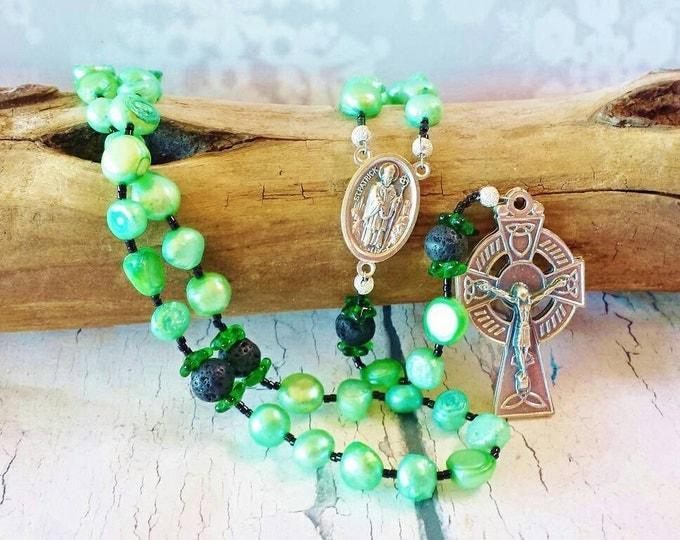 St Patrick Traditional Catholic Rosary ~ Shamrock Green Freshwater Pearls & Italian Silver Celtic Crucifix ~ Birthday, First Communion Gift