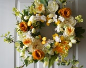 Spring Wreath, White Yellow Cherry Blossom Wreath, Tulips Peonies Roses Flowers Wreath, Large Spring Wreath