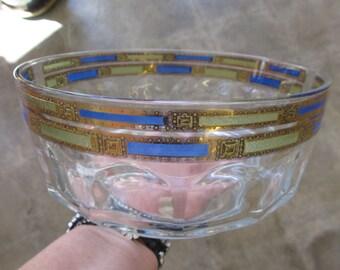 Vintage French Arcoroc Thumbprint Clear Glass Bowl Art Deco Gilding