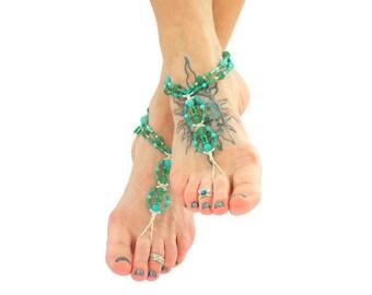Green Aventurine Barefoot Sandals, Hemp Earthing Shoes, Soleless Sandals, Yoga Footwear, Healing Crystals Barefoot Jewelry, Beaded Footwear