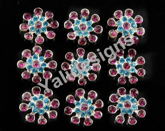 Set of 10pcs 21mm Metal Spark Rhinestone Flower Brooch-Flower Crystal Style- Children Headbands or Hair Clips-YTB57