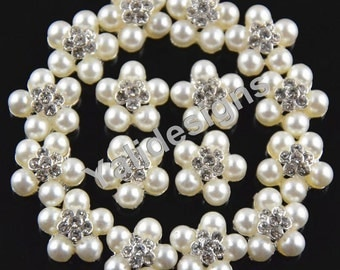 Set of 5pcs 14mm Crystal Pearl Flower Brooch- Children Headbands or Hair Clips-YTB65