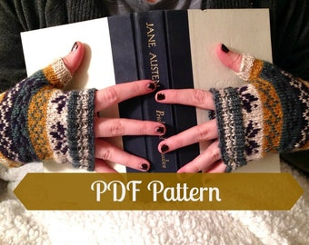 Fair Isle Reading Gloves PDF Pattern; Fingerless Gloves Pattern; Fair Isle Mittens Pattern