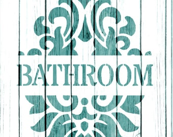 Re-usable Mylar Stencil BATHROOM,  Furniture, Fabric, French, Vintage, Shabby Chic