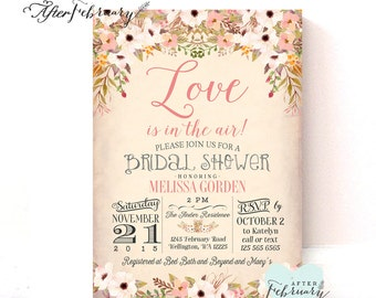 Floral Bridal Shower Invitation // Vintage Peach Background Watercolor Floral Collection Printable No.1058BRIDE