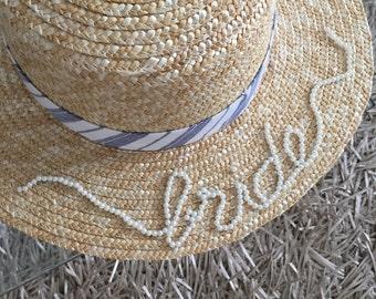 Bride hat, bridal hat, bridal hair accessories, personalised hat, bride, pearls, straw hat, summer hat, wedding hat, bridesmaids, hat