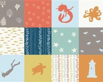 Beyond the Sea Patch by Birch Fabrics 100% organic cotton patchwork fabric sea turtle lighthouse mermaid sea shell star fish print fabric
