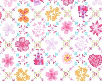 Royal Sampler Michael Miller fabric fairy princess castle fabric by the yard children apparel quilting sewing fabric girl pink princess