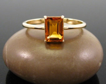 citrine ring, Citrine Ring 14k gold ring size 3 4 5 6 - solid gold citrine ring - November Birthstone Ring -  genuine citrine emerald 7x5