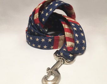 "1 inch width & 5-foot long Dog Leash with USA Flag ""America The Beautiful"" Patriotic Fourth of July Fabric"