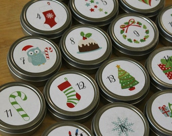 Reusable Magnetic Christmas Advent Calendar / Advent Tins / Magnet Advent with Containers / 25 Day Christmas Countdown