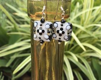 Penny Black Glass Lampwork Earrings