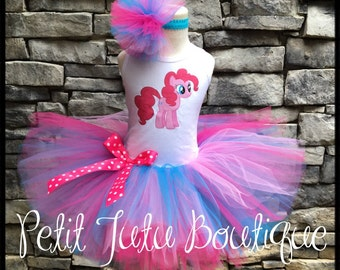 My Little Pony Pinkie Pie  Birthday Tutu set any size available 12m to 10/12y FREE Personalization Name and Age