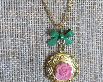Gold Plated Locket with Flower