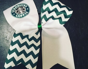 Starbucks Coffee inspired Cheer Bow!! Green/White Chevron attached to a Ponytail Holder!