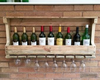 Rustic Wooden Wine Rack & Shelf - Wall Mounted