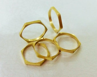 15 Pcs Raw Brass 16 mm Hexagon Ring Findings - İnner Hole 15 mm - 2 mm Width