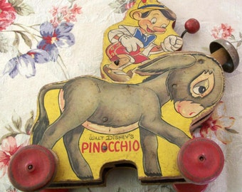 Disney 1939 Wooden Pull Toy Pinnochio Wooden Pull Toy from 1939! HTF! Neat. Still works.