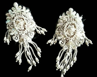 Fancy lace beaded nipple pasties in Ivory white