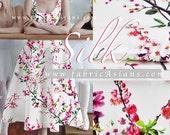 Cherry Blossom Ivory Silk Fabric. Wedding fabric. SSD101174
