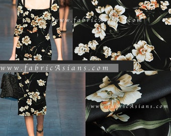 Floral Silk Fabric. Black Silk Fabric by the yard