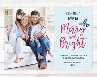 Christmas Photo Card, Printable Photo Christmas Card,  Christmas Photo, Holiday Photo Card, Christmas Card