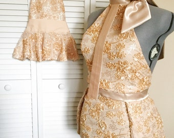 FINAL MARKDOWN, Bridal Shower,Custom Apron,Fancy Apron,Mommy and Me,Mother and Daughter Set,Hostess Apron,Sparkling Champagne,Sequins
