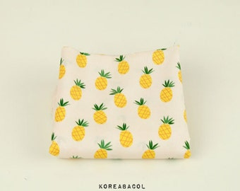 "Pineapple Fabric, Pineapple Pattern, 44""x35"", 100% Cotton 30s Woven, Fruits Print, Scandinavian Fabric [#S0013]"