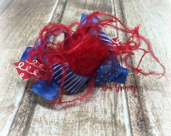Red and Denim Bow, Blue Jean Bow,  Denim Hair Bow, Denim Hairbow, Red Feather Bow, Over the Top Bow, Summer Bow, Feather Hair Bow, Red Bow
