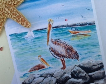 Pelicans in Paradise set of 8 blank note cards, printed from my original painting, greeting cards, thank you, all occasion cards