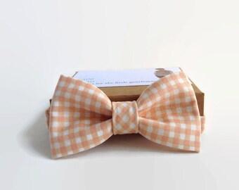 Boys Bow Tie- Bow Ties For Boys- Tangerine Check- Little Beau