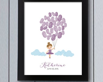 Tutu Cute Ballerina Party Guest Book / Printable Pdf / Baby Shower Guestbook  Girl Birthday Balloon