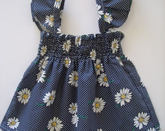 Daisies Sun dress, Girls Shirred dress, Kids clothing, Daisies, Red, Blue, 100% cotton, girl, baby, toddler, size NB to 10 years