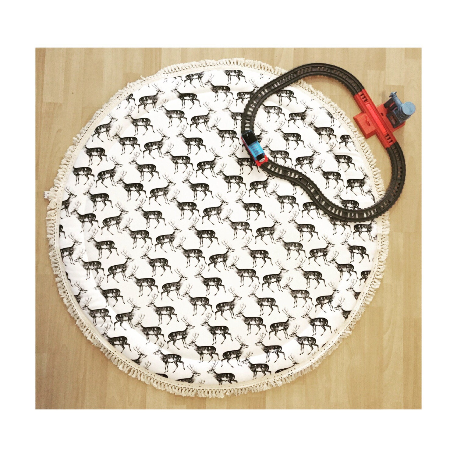 Stag Deer And Dot Baby Roundies Round Rug Tummy Time Play Mat