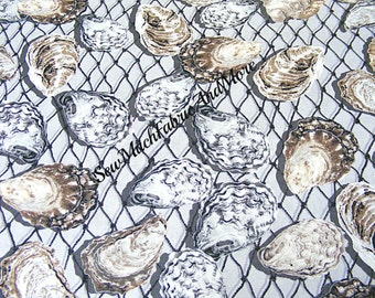 Back in Stock~Maine Attraction Oyster Bay Fabric~Oysters on nets~By The yd~cotton~Kanvas Benartex~Ocean~Seafood~Shells~C5229