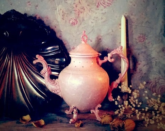 Vintage Victorian Ornate Coffee Pot, Pink Shabby Cottage Chic, Altered, Mixed Media Art, OOAK, Swarovski Crystals, Unique Gift Idea