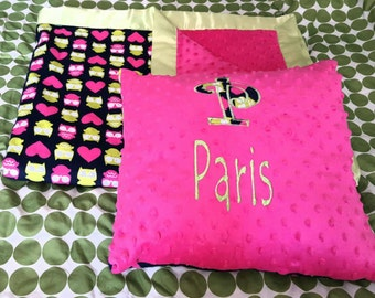 Mink blanket and pillow set