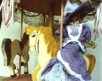 Crochet Fashion Doll Barbie Pattern- #126 TURN of CENTURY LILAC