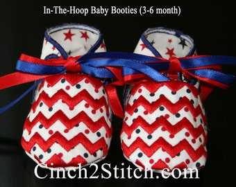 Chevron Baby Shoes/Booties - In The Hoop - Machine Embroidery Design Download (3-6 month size)