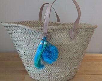 Beach bag, beach basket, straw basket, moroccan basket bag, French market bag, straw tote,  Market bag, shopper, tassel bag, pompom bag