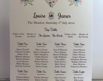 A3 Country Chic Wedding Table/Seating Plan